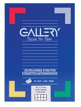 Gallery witte etiketten Ft 105 x 74 mm (b x h), rechte hoeken, doos van 800 etiketten