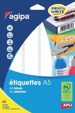 Agipa witte etiketten Print & Write ft 56 x 34 mm (b x h), 192 stuks, 12 per blad