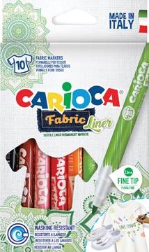 Carcioca textielstift Fabricliner, doos van 10 stuks in geassorteerde kleuren