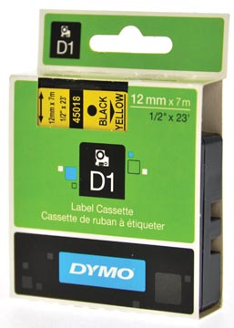 Dymo D1 tape 12 mm, zwart op geel