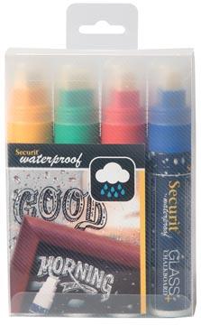 Securit Waterproof krijtmarker large, etui met 4 stuks in geassorteerde kleuren