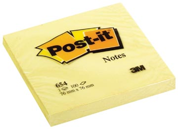 Post-it Notes, ft 76 x 76 mm, geel, blok van 100 vel