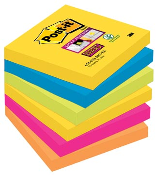 Post-it Super Sticky notes Rio, ft 76 x 76 mm, 90 vel, pak van 6 blokken