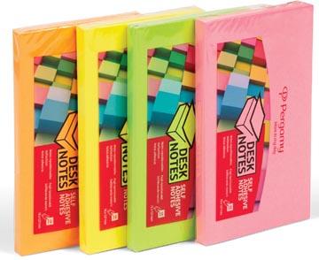 Pergamy notes, ft 76 x 127 mm, 4 geassorteerde neon kleuren, pak van 12 blokken