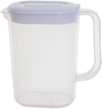 Whitefurze schenkkan 1,5 liter, transparant met wit deksel
