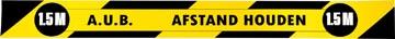 Gallery vloersticker, houd 1,5 meter afstand, ft 80 x 8 cm, geel/zwart