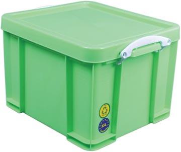 Really Useful Box opbergdoos 35 liter, neongroen met witte handvaten